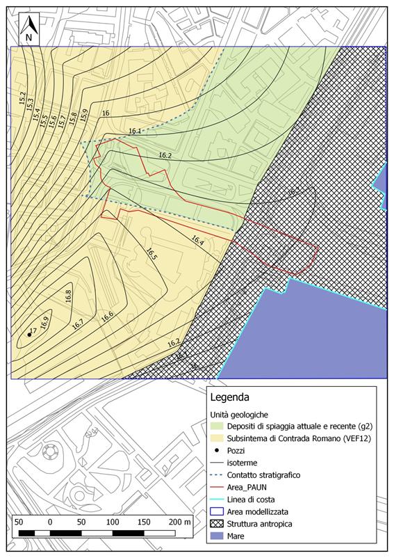 Figura 12 – Carta delle isoterme dell'areale PAUN in scala 1:3.000