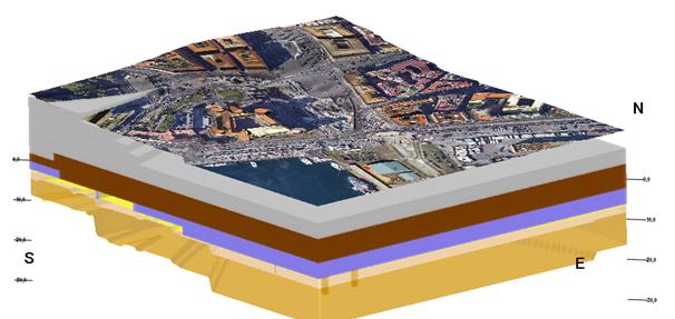 Figura 3 – Modello geologico-stratigrafico tridimensionale dell'areale PAUN (esagerazione verticale 5x)