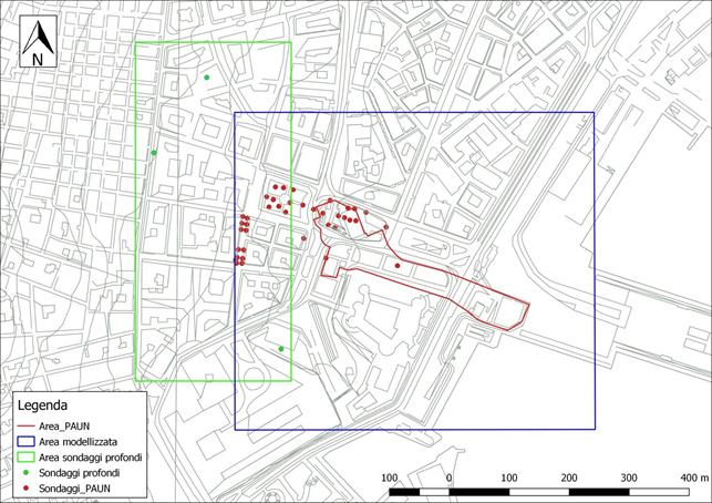 Figura 7 – Rappresentazione cartografica dell'areale PAUN (in rosso), area oggetto di modellazione (in blu), area modellizzata mediante i sondaggi profondi (in verde)