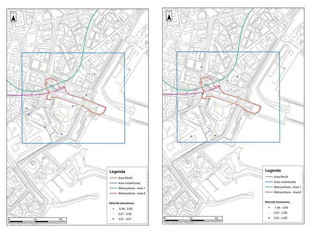 Figura 1 - Mappa delle velocità delle deformazioni medie lungo la LOS per i dati ERS 1/2 dell'area PAUN: ascending (sinistra), descending (destra)