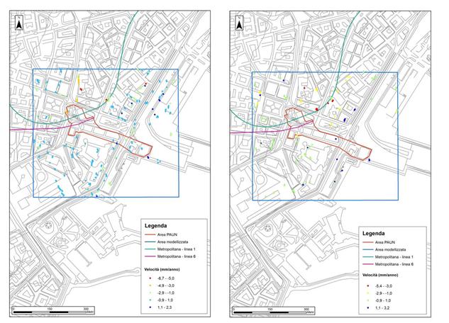 Figura 2 - Mappa delle velocità delle deformazioni medie lungo la LOS per i dati ENVISAT dell'area PAUN: ascending (sinistra), descending (destra)