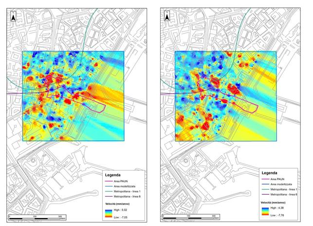 Figura 6 - Mappe interpolate delle velocità medie di deformazione dell'area PAUN lungo la LOS per i dati Cosmo-SkyMed: ascending (sinistra), descending (destra)