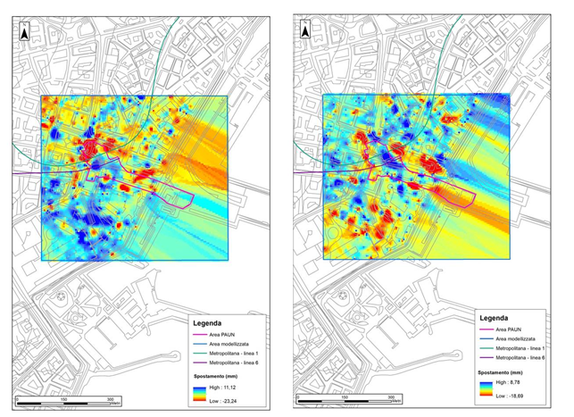 Figura 7 - Mappe interpolate delle deformazioni dell'area PAUN per i dati Cosmo-SkyMed: ascending (sinistra), descending (destra)