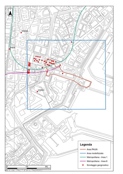 Figura 2 – Rappresentazione cartografica dell'ubicazione dei sondaggi geognostici utilizzati per la ricostruzione tridimensionale del sottosuolo dell'area PAUN
