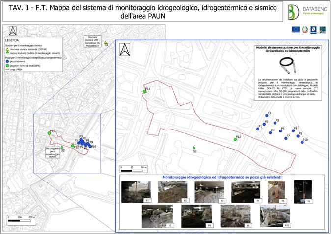Figura 1 – Carta del sistema di monitoraggio idrogeologico, idrogeotermico e sismico proposto per l'areale PAUN