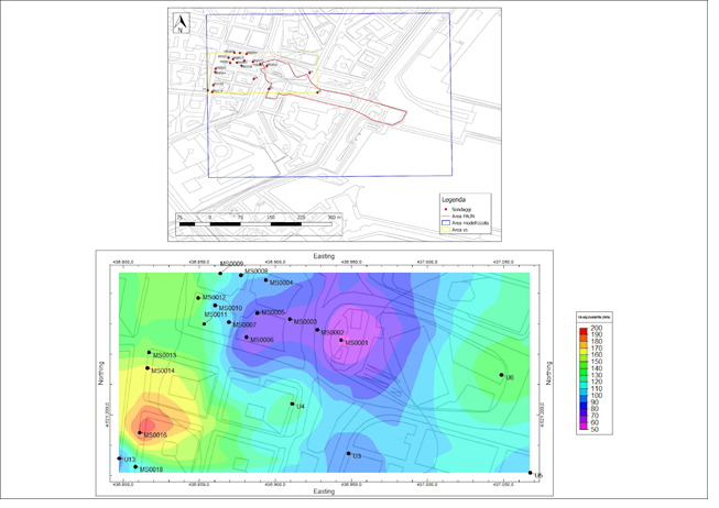 Figura 4– Mappa della distribuzione areale del Vs equivalente determinato secondo le Norme Tecniche per le Costruzioni 2018 (NTC, 2018)
