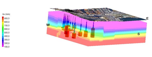 Figura 3 – Modello tridimensionale della distribuzione nel sottosuolo delle velocità di propagazione delle onde di taglio (Vs) dei vari litotipi in funzione della profondità dell'area PAUN