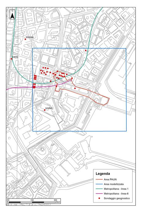 Figura 1 – Rappresentazione cartografica dell'ubicazione dei sondaggi geognostici utilizzati per la ricostruzione tridimensionale del sottosuolo dell'area PAUN